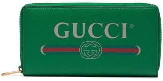 Gucci Green Logo Leather zip around wallet