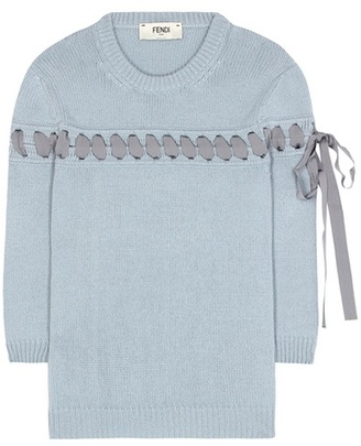 Ribbon-stitched cashmere sweater