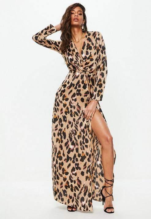 Gold Leopard Print Wrap Front Maxi Dress