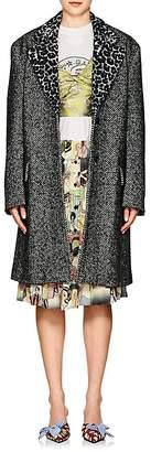 Prada Women's Leopard-Lapel Wool-Alpaca Tweed Coat