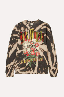 MadeWorn Guns N' Roses Distressed Printed Cotton-blend Sweatshirt - Black