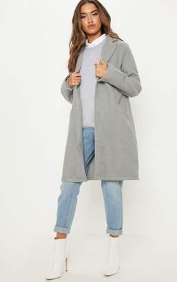 PrettyLittleThing Grey Midi Pocket Front Coat