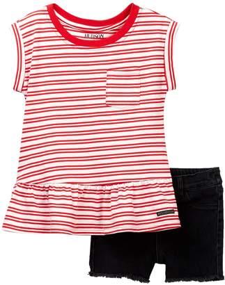 Hudson Stripe Jersey Top & Shorts (Toddler Girls)