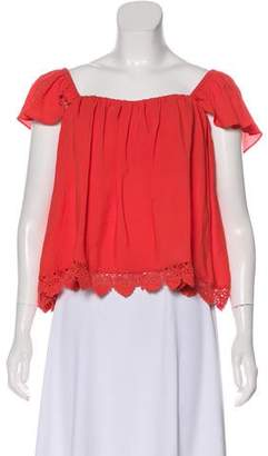 Lovers + Friends Lace-Trimmed Short Sleeve Top