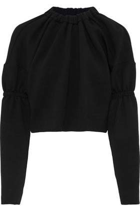 Tibi Cropped Gathered Stretch-Knit Sweatshirt