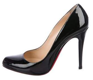 Christian Louboutin Patent Leather Rounded-Toe Pumps