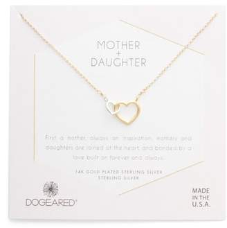 Dogeared Mother + Daughter Linked Hearts Necklace