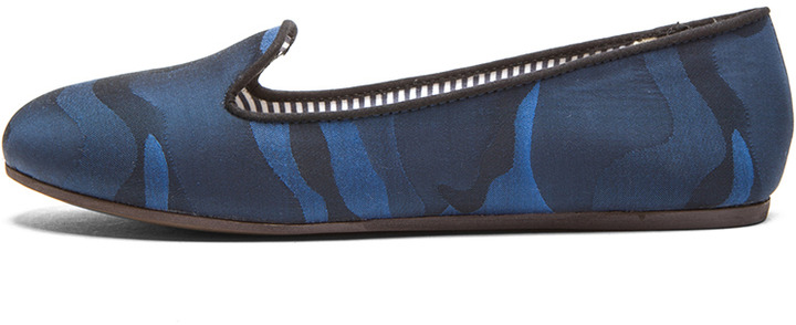 Charles Philip Shanghai Sheila Silk Loafers in Military Blue