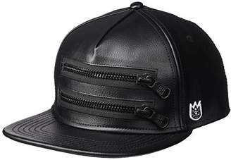 Cult of Individuality Men's Faux Leather Zipper Moto Hat