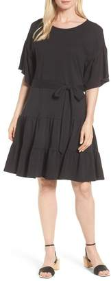 Bobeau Drop Waist Ruffle Cotton Dress (Regular & Petite)
