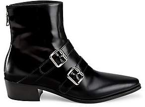 Prada Women's Double Buckle Leather Ankle Boots