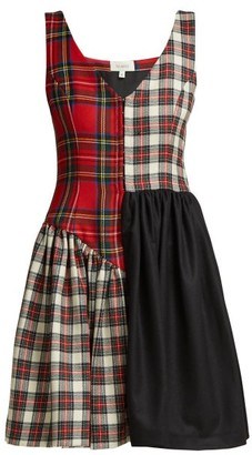 Isa Arfen Elsi Patchwork Tartan Wool Dress - Womens - Red Multi