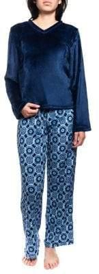 Jasmine Rose Two-Piece Velvet Plush Pyjama Set