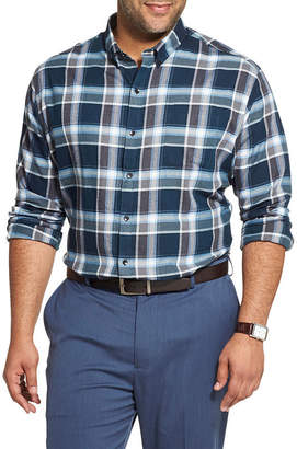 Van Heusen Mens Long Sleeve Plaid Button-Front Shirt Big and Tall