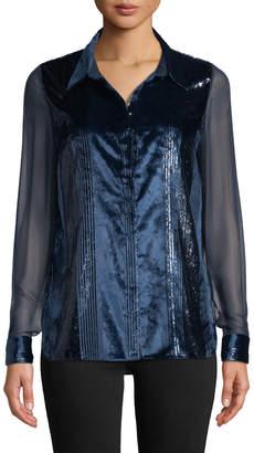 Elie Tahari Ingunn Button-Front Long-Sleeve Metallic-Striped Velvet Blouse