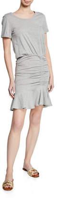 Veronica Beard Short-Sleeve Ruched Pima Cotton Mini Dress w/ Flounce Hem