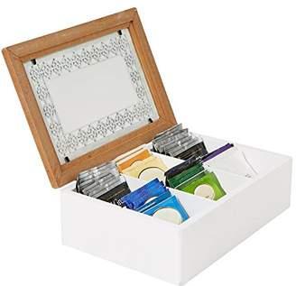 Mind Reader Tea Bag Storage Holder Box with Glass Window Wood Pattern