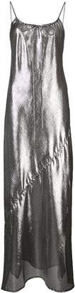 Lisa Marie Fernandez side slit sheer slip dress silver