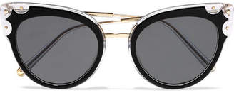 Dolce & Gabbana Cat-eye Studded Gold-tone And Acetate Sunglasses