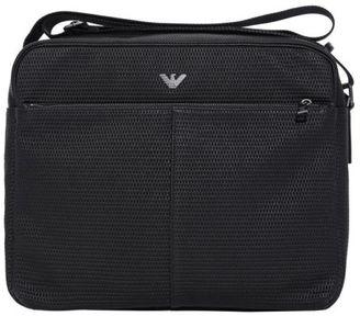 New Mens Black Woven Messenger Ployurethane Shoulder Bag Bags