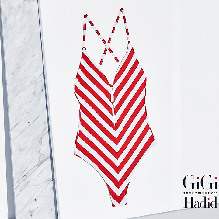 Tommy Hilfiger Striped Bathing Suit Gigi Hadid
