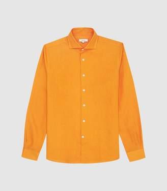 6965bce3a95888 Reiss Ronnie - Linen Regular Fit Shirt in Orange