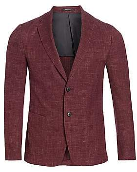 44acfb6c Men's Single-Breasted Linen, Wool & Silk Jacket