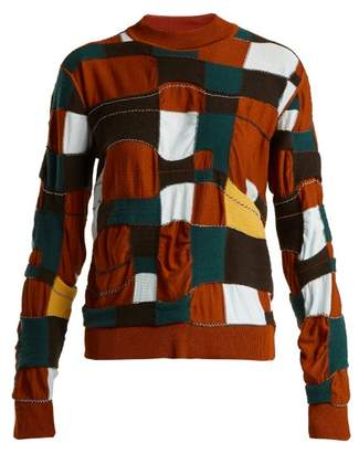 Marni Patchwork Cotton Blend Sweater - Womens - Brown Multi