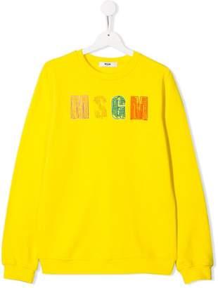 MSGM Kids bead embroidered logo sweatshirt