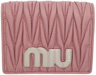 Miu Miu (ミュウミュウ) - Miu Miu ピンク キルト ロゴ ウォレット