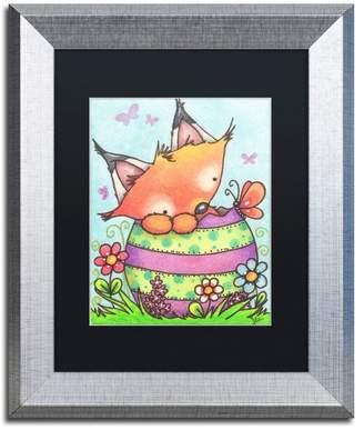 Trademark Fine Art Nilsson 'Happy Easter Little Fox' Art, Silver Frame, 14x11