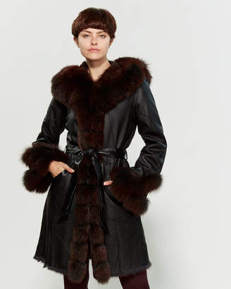 Intuition Paris Black & Red Meryl Real Fur-Trimmed Leather Coat