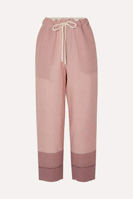 Bassike Net Sustain Striped Cotton-gauze Pants - Pink