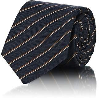 Kiton Men's Striped Wool-Silk Herringbone Necktie