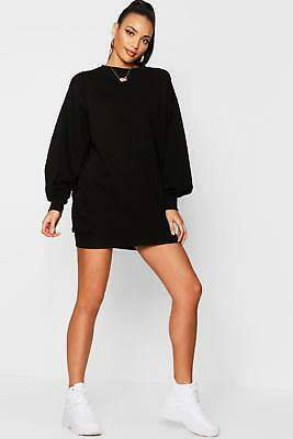 boohoo NEW Womens The Perfect Oversized Volume Sleeve Sweat Dress in Cotton