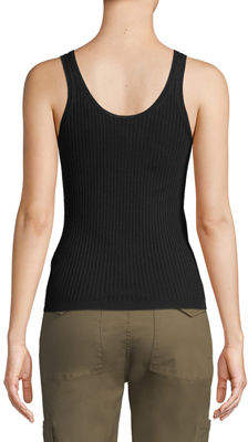 Vince Ribbed Wool-Stretch Scoop-Neck Tank Top