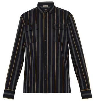 Bottega Veneta Multi Striped Cotton Shirt - Mens - Navy