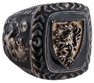 MCL by Matthew Campbell Laurenza Green Sapphire & Enamel Signet Ring