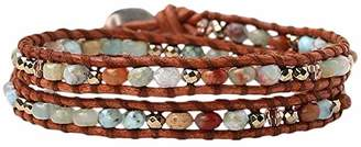 Chan Luu Aqua Terra Jasper Mix Double Wrap Bracelet on Brown Leather