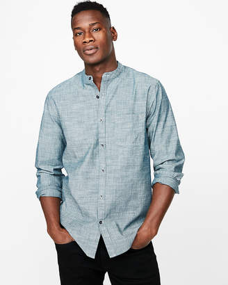 Express Slim Band Collar Chambray Shirt