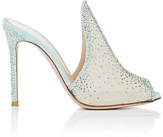 Gianvito Rossi Women's Ariel Crystal-Embellished Mesh Mules - Turquoise