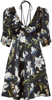 Cinq à Sept Anders Ruched Floral-Print Silk-Satin Mini Dress