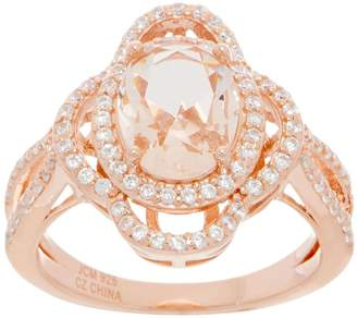 Diamonique and Simulated Morganite Oval Halo Ring, 18K Rose Clad