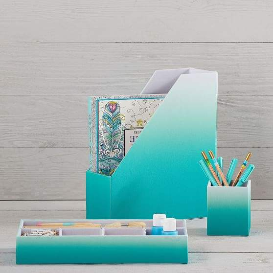 Fabric Desk Accessories, Pool Ombre
