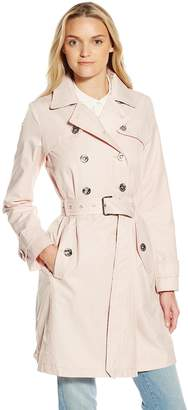 Laundry by Shelli Segal Women's Double Breasted Trench Coat with Leopard Trim
