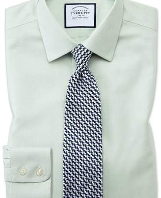 Charles Tyrwhitt Extra slim fit non-iron step weave green shirt