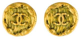 Chanel CC Textured Medallion Clip-On Earrings