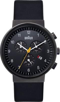 Braun Men's BN0035BKGNBKG Leather Analog Quartz Watch with Dial
