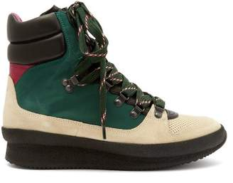 Isabel Marant Brendta Leather And Suede Boots - Womens - Green Multi