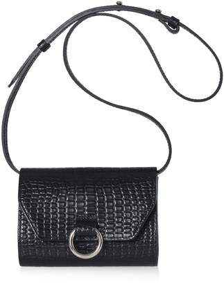 Joanna Maxham Lady O Black Crocodile Mini Crossbody Bag